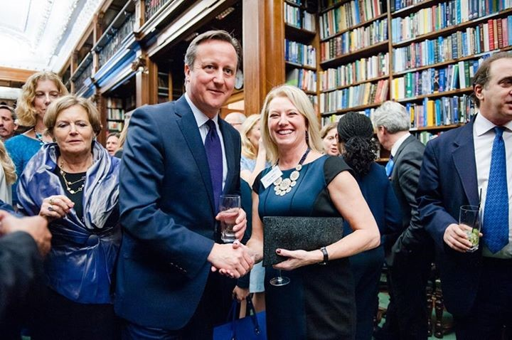 David Cameron with Ellen Miller, Women2Win Director 2012-2015